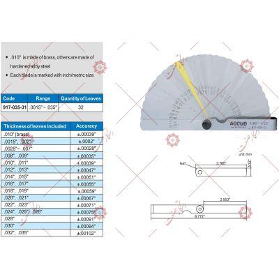 Filler gauge measure